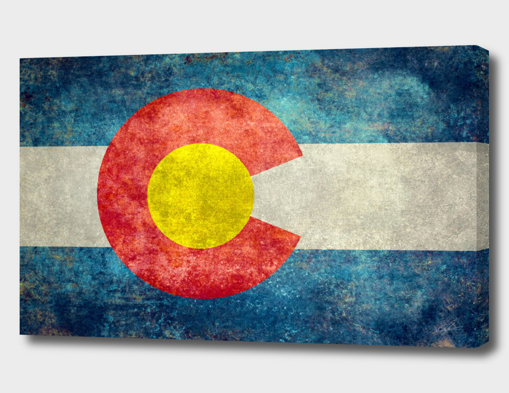 Colorado state flag in retro style