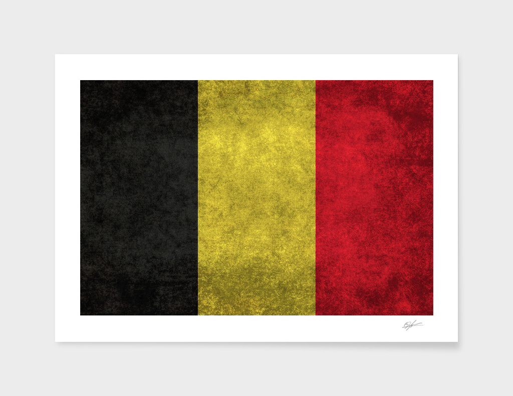 Flag of Belgium in Vintage retro