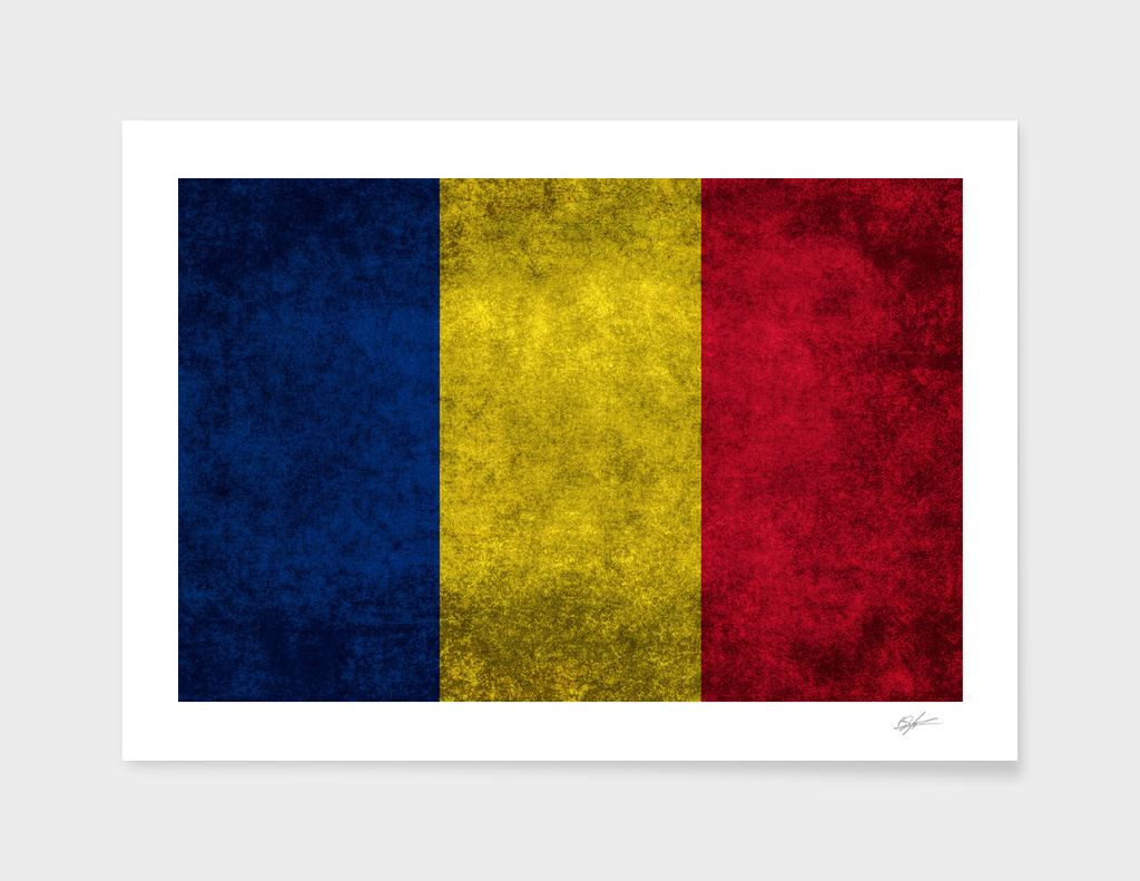 Flag of Romania in Vintage retro style