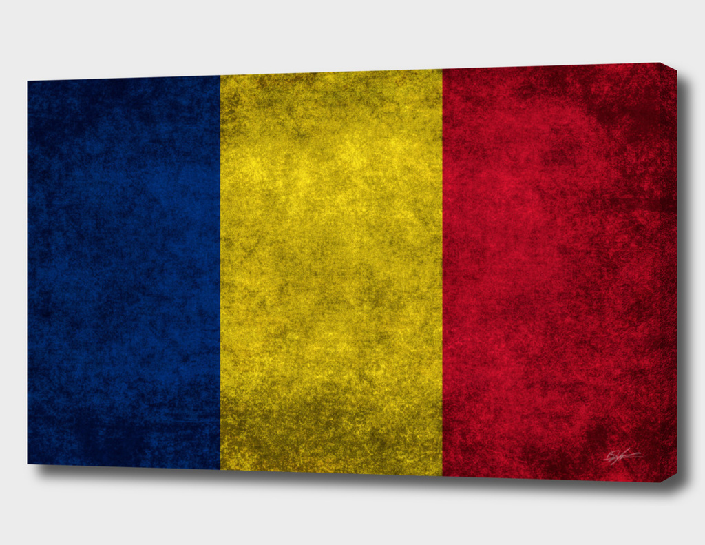 Flag of Romania in Vintage retro style