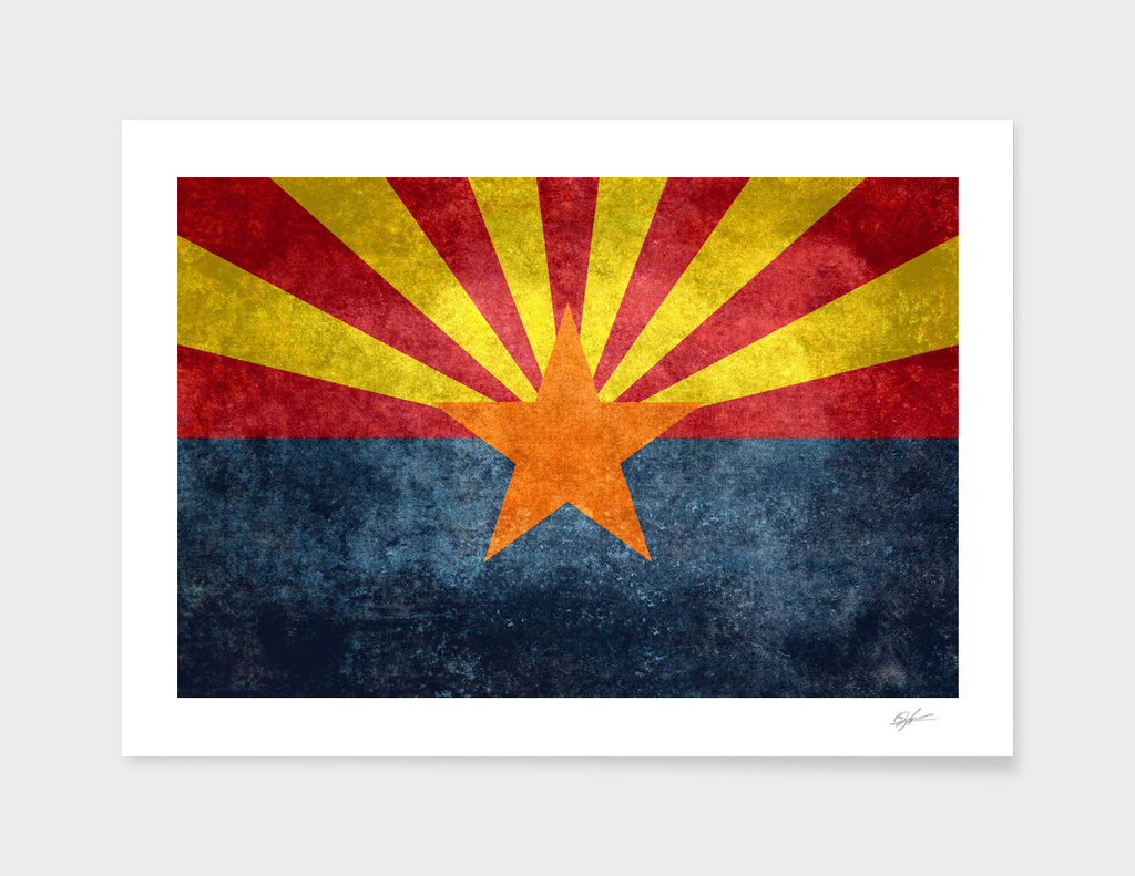 Arizona state flag in vintage retro style