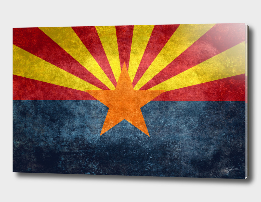 Arizona state flag in vintage retro style