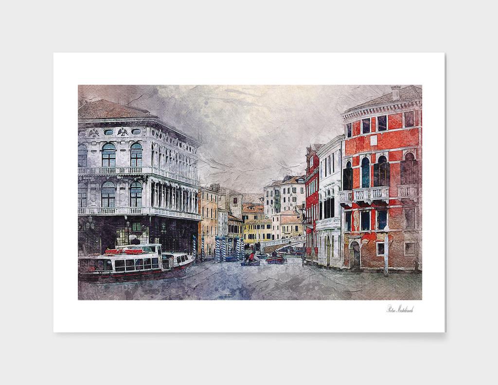 Venice small town watercolor