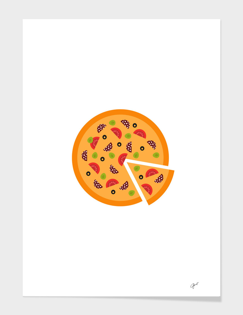 Pizza with slice vector illustration on white background