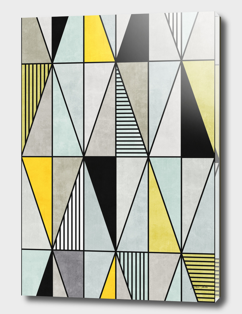 Colorful Concrete Triangles - Yellow, Blue, Grey