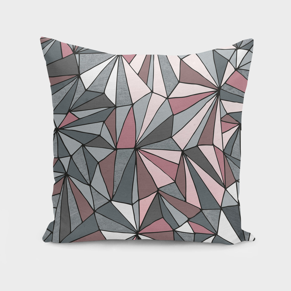 Urban Geometric Prism Pattern - Pink and Grey