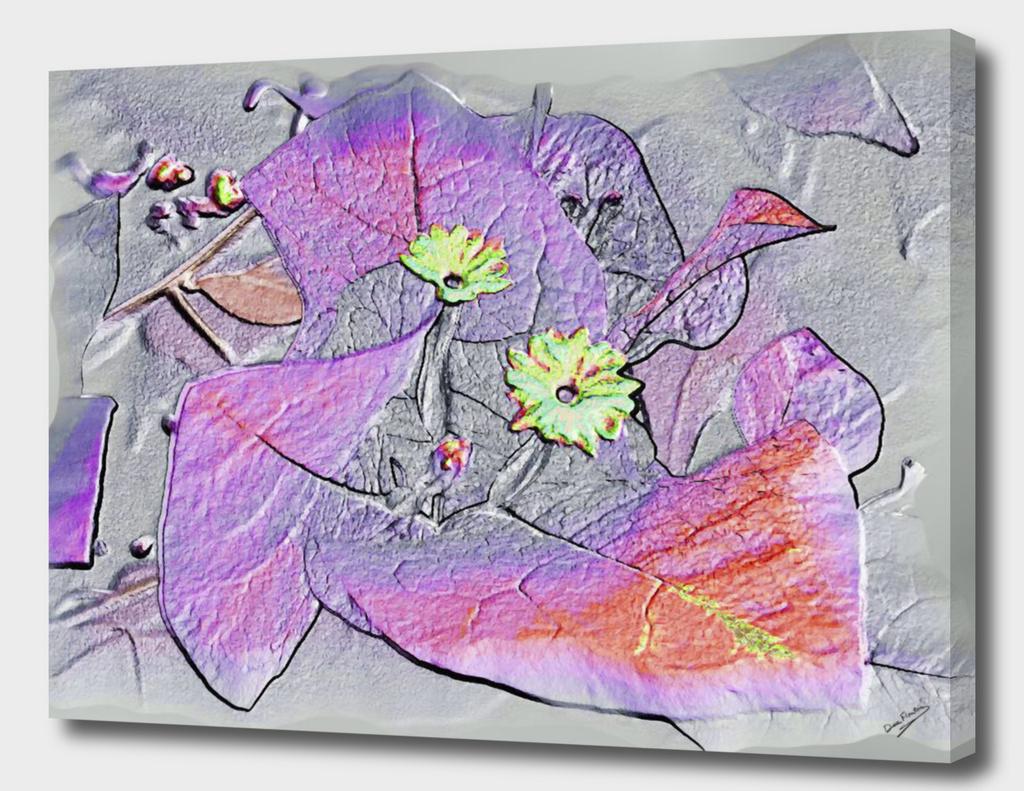 Bougainvillea Silver Fuchsia Metallic Abstract Deekflo