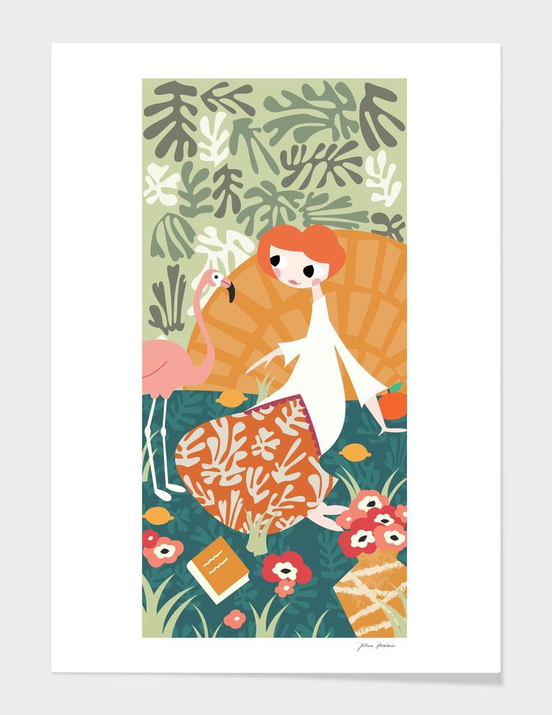 Girl and Flamingo 001