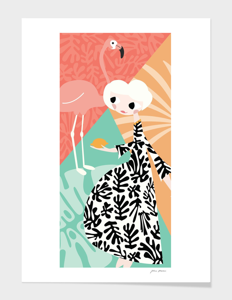 Girl and Flamingo 003