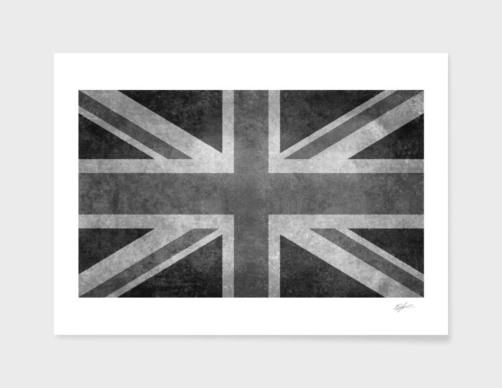 Union Jack in Vintage retro grayscale