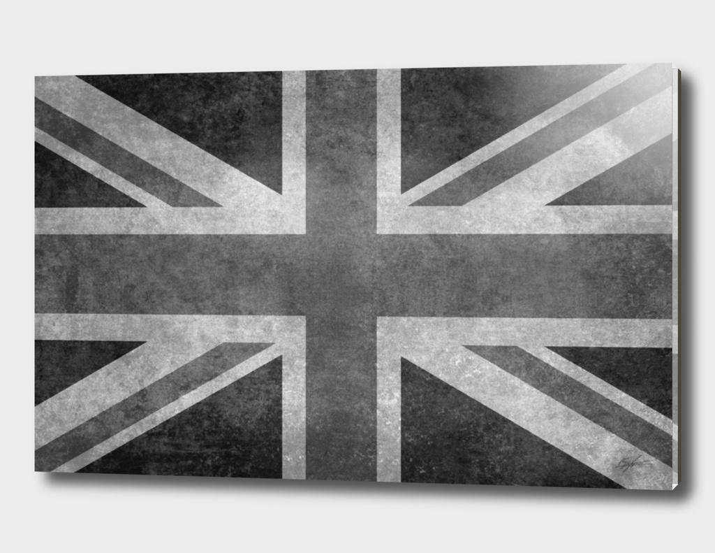 Union Jack in Vintage retro grayscale