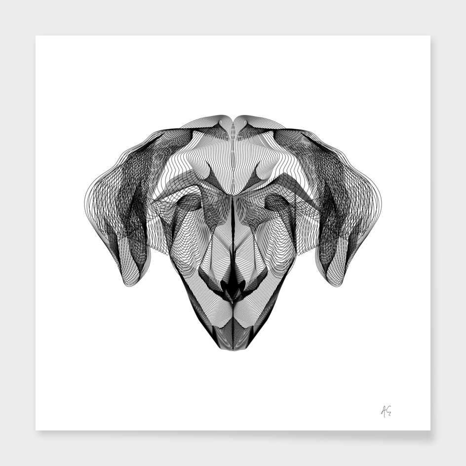 Minimal Abstract Lines Dog Print