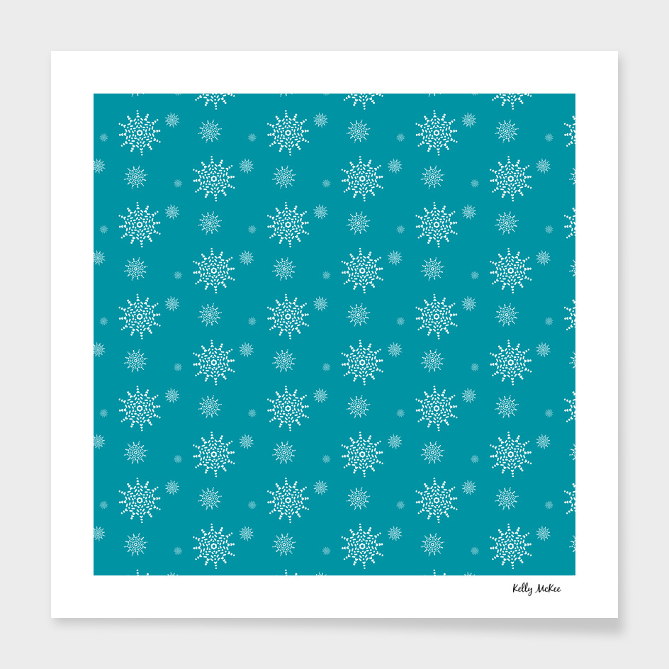 White Snowflakes on Turquoise