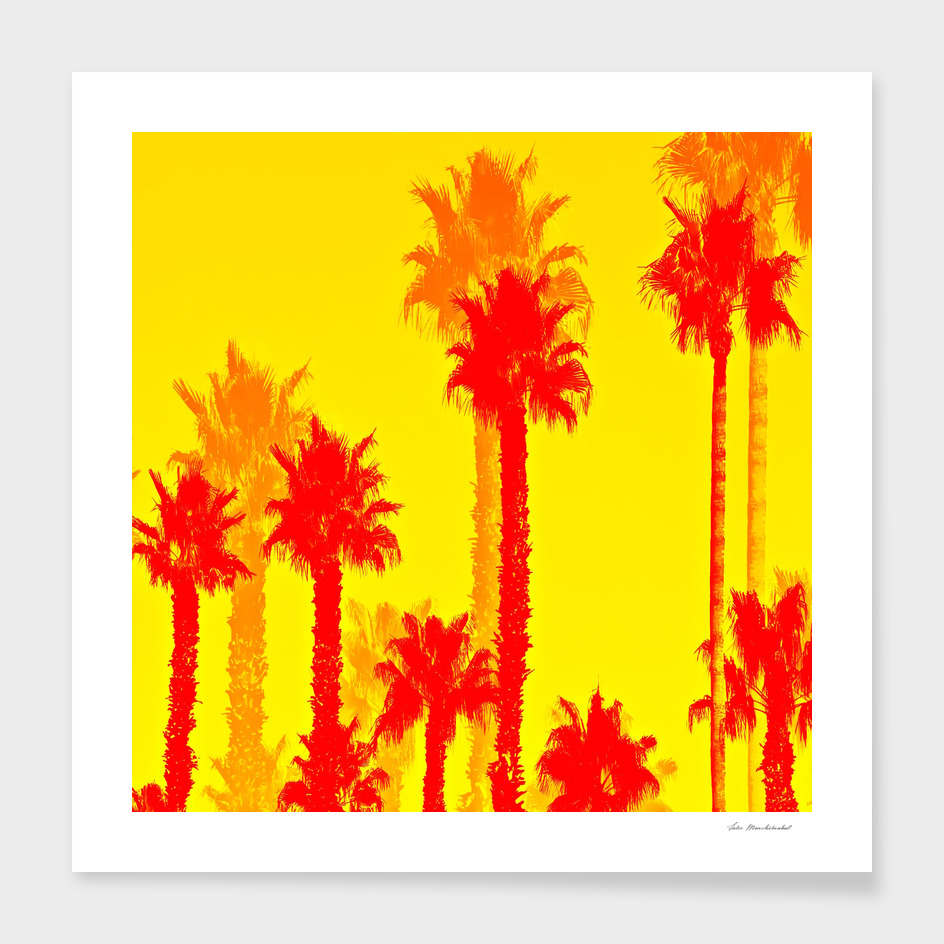 red palm tree with yellow background