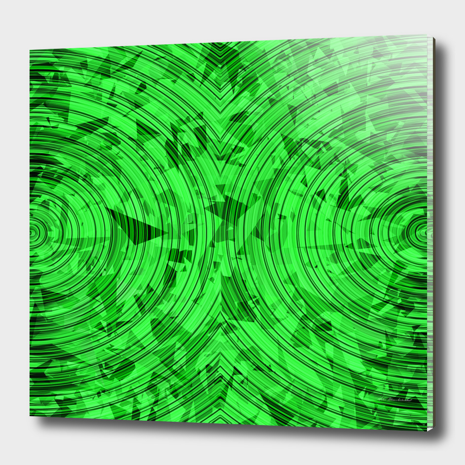 geometric triangle and circle pattern abstract in green