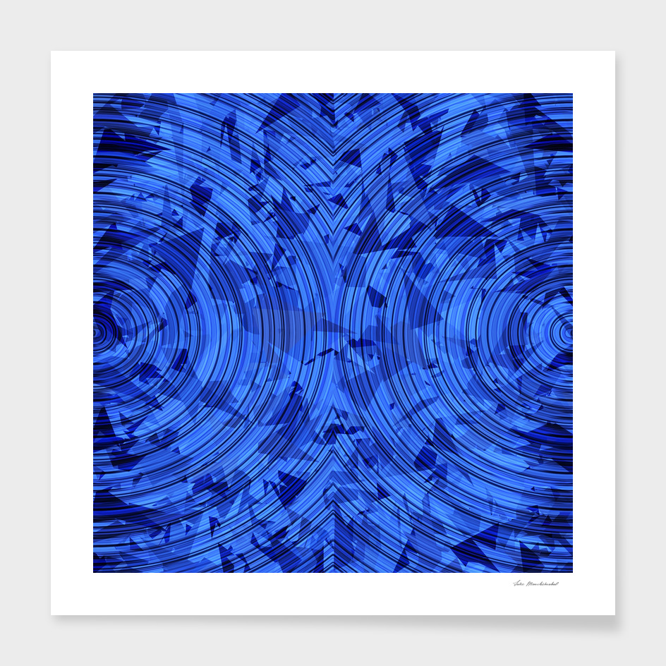 geometric triangle and circle pattern abstract in blue