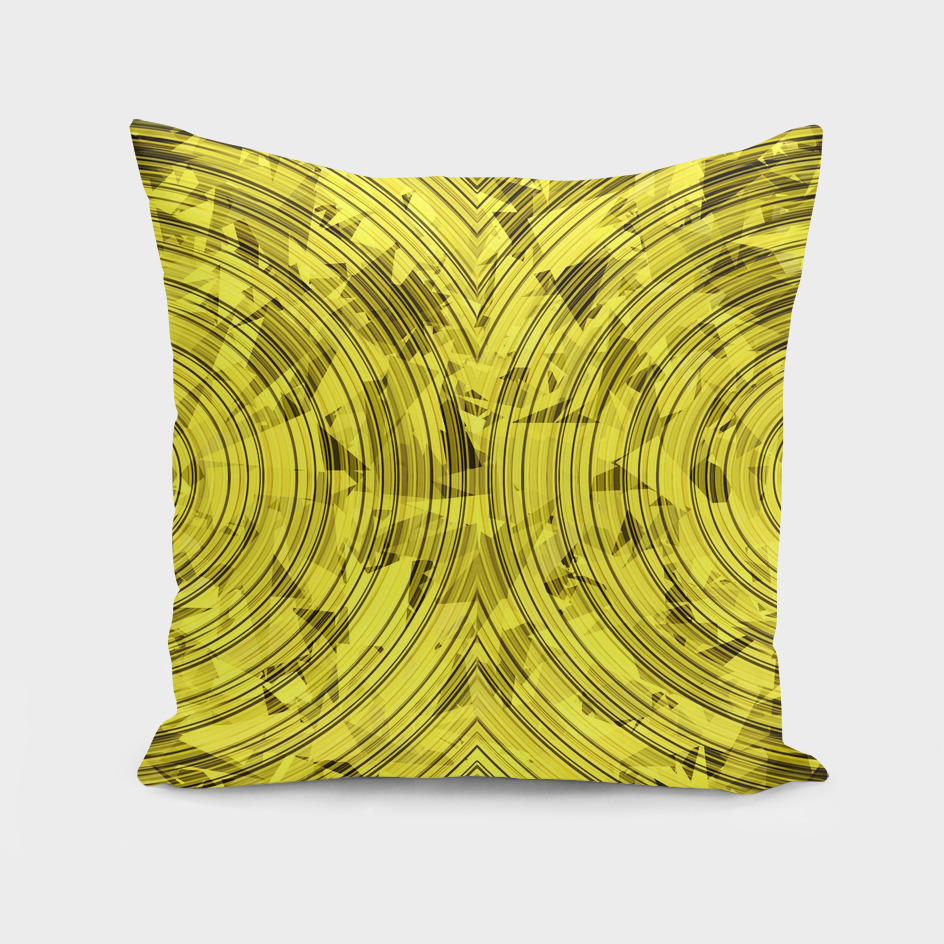 geometric triangle and circle pattern abstract in yellow