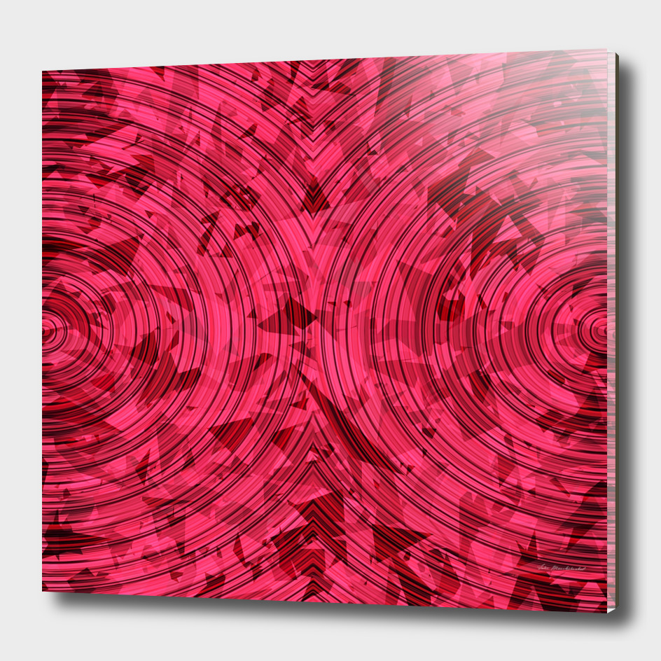 geometric triangle and circle pattern abstract in red