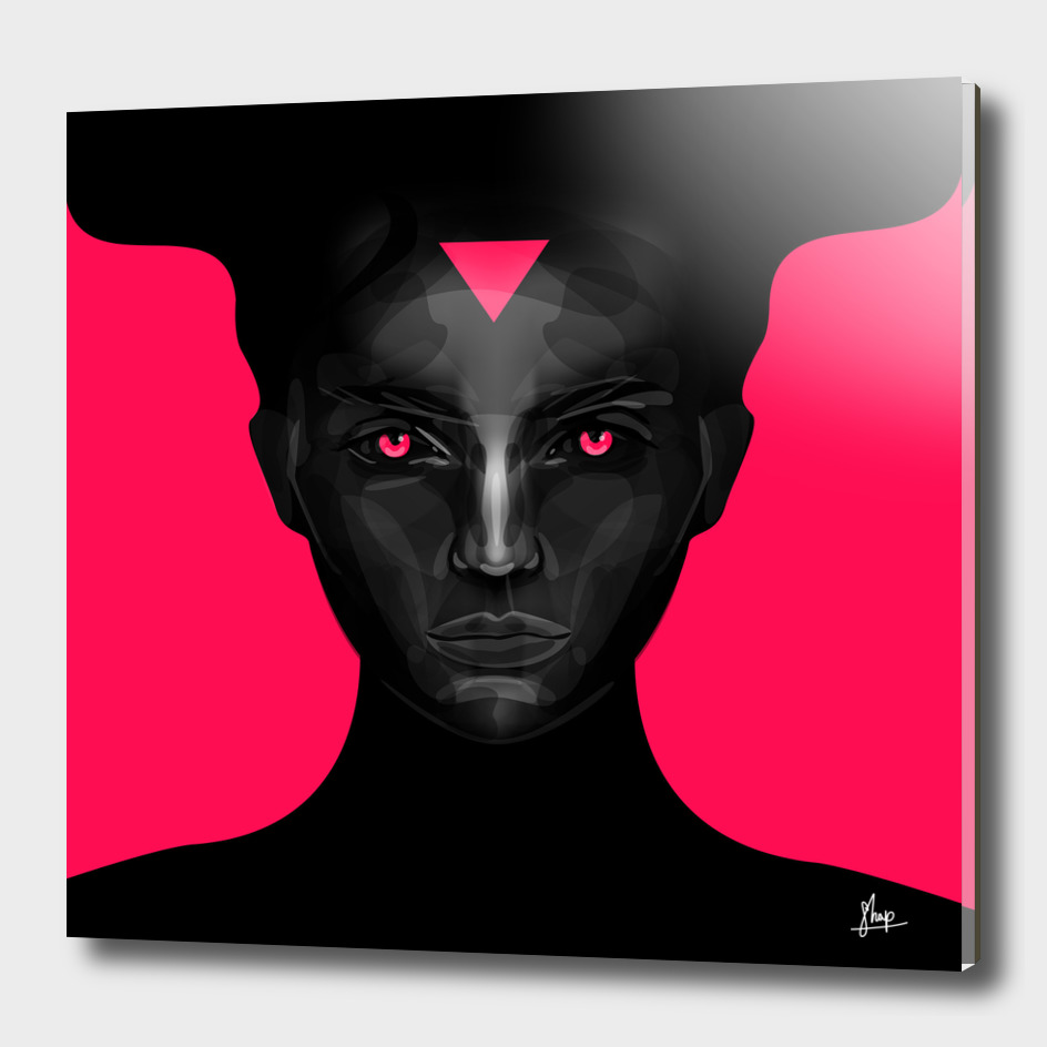 black lady on pink