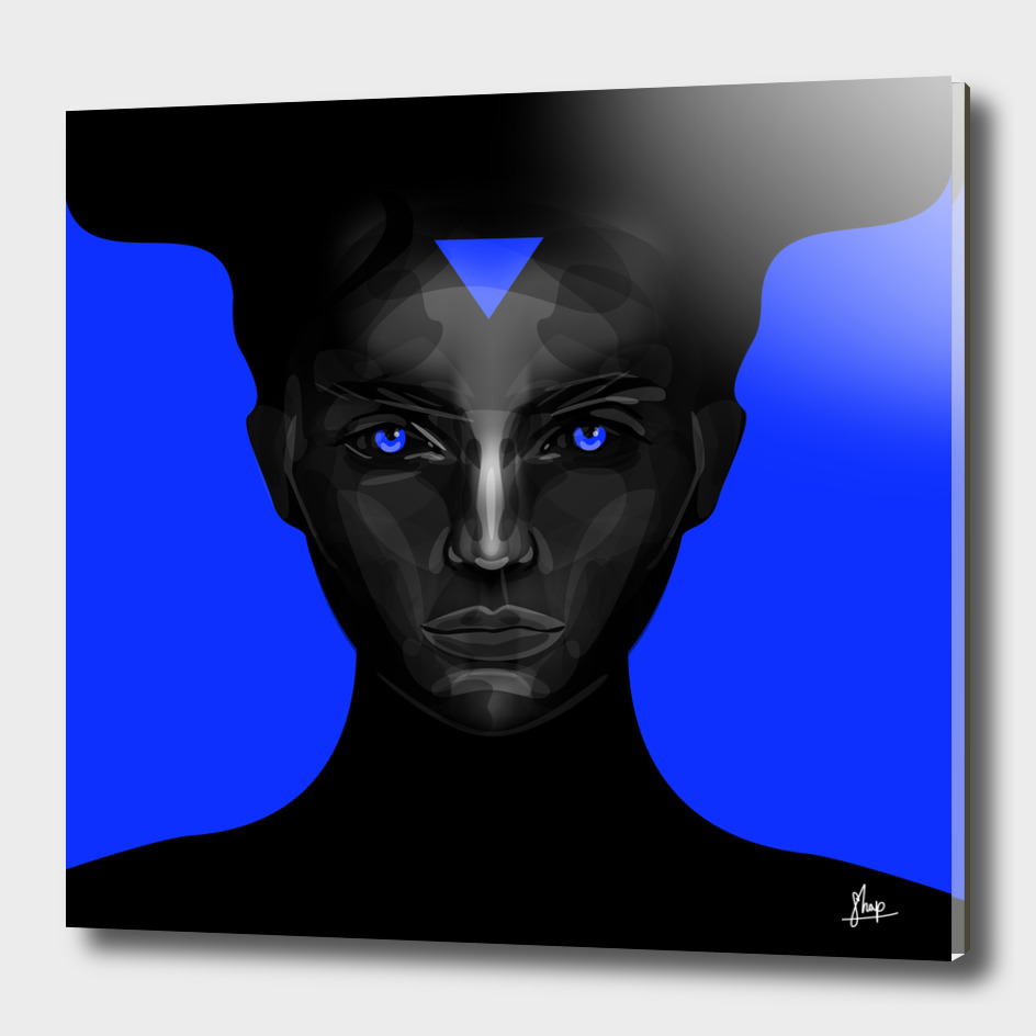 black lady on blue