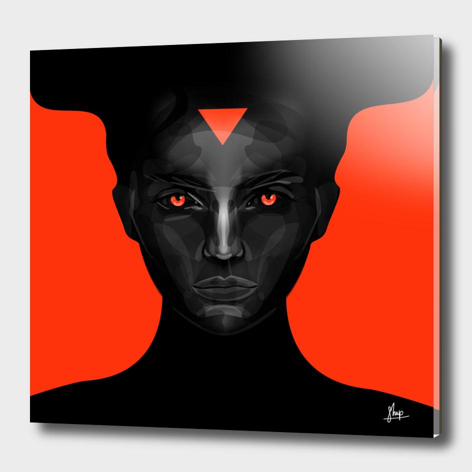 black lady on orange