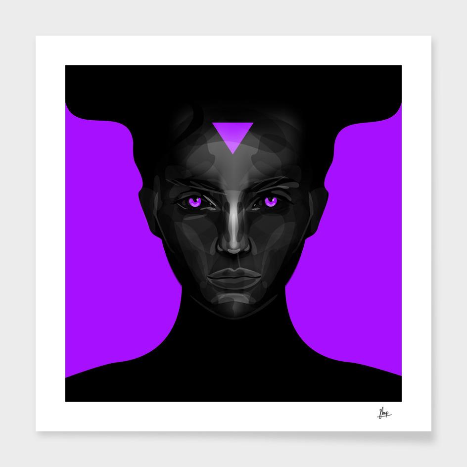 black lady on purple