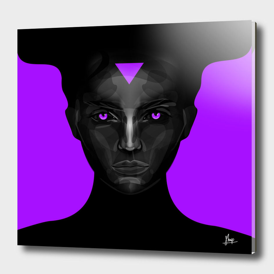 black lady on purple