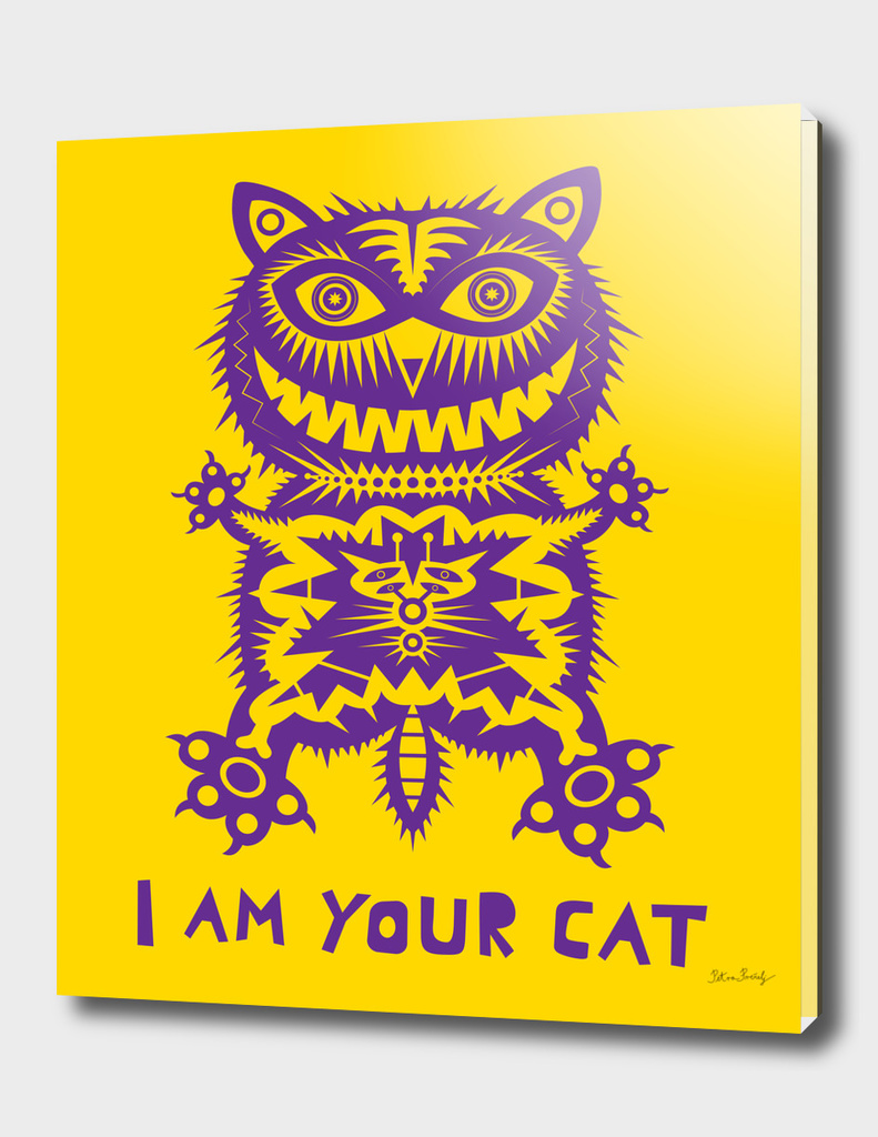 purple cat on yellow background