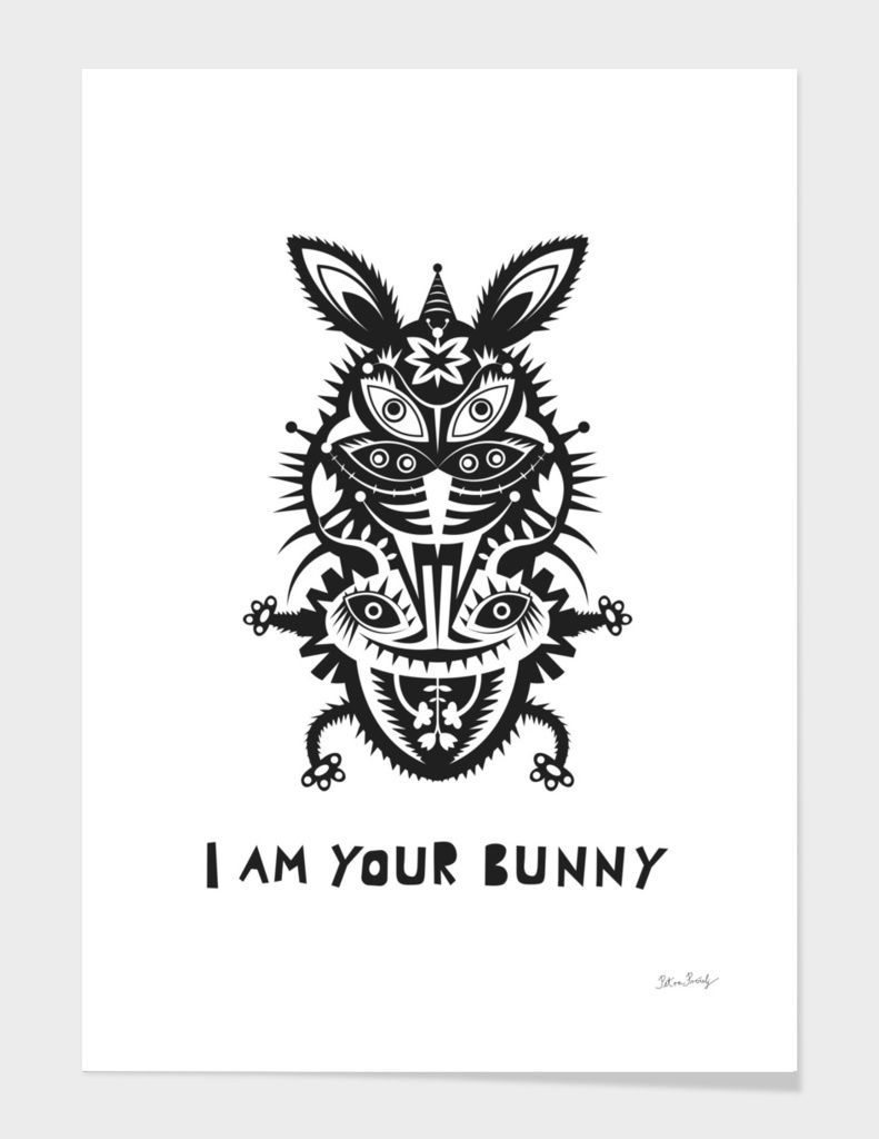 black bunny on white background