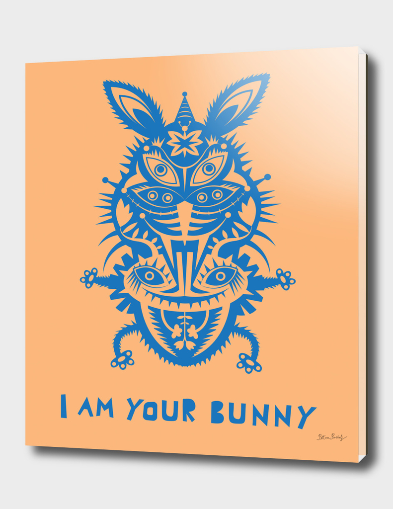 blue bunny on orange background