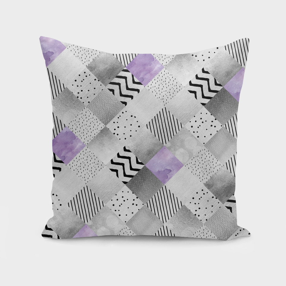 GRAPHIC PATTERN Sparkling Patchwork | purple&silver