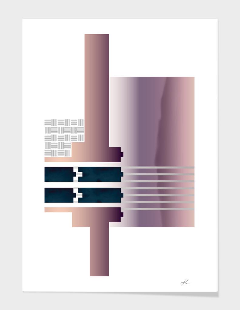 Minimalist Gradient Geometric Interlocking Abstract