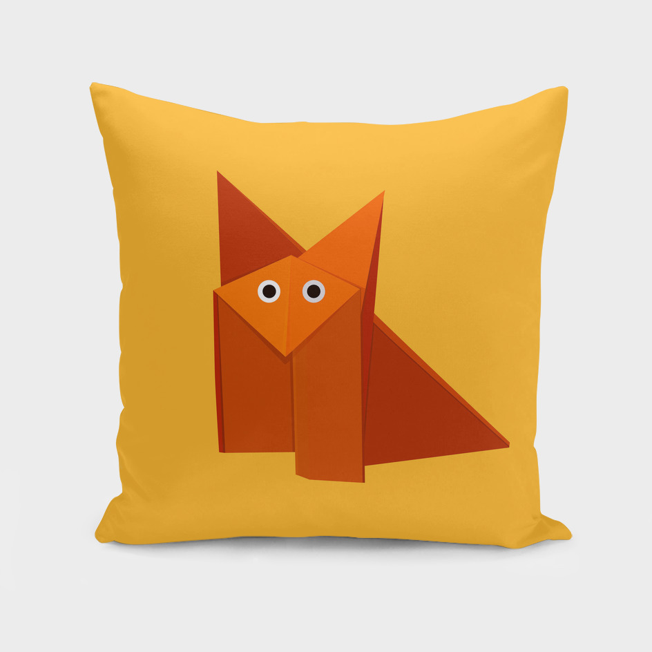 Geometric cute origami fox