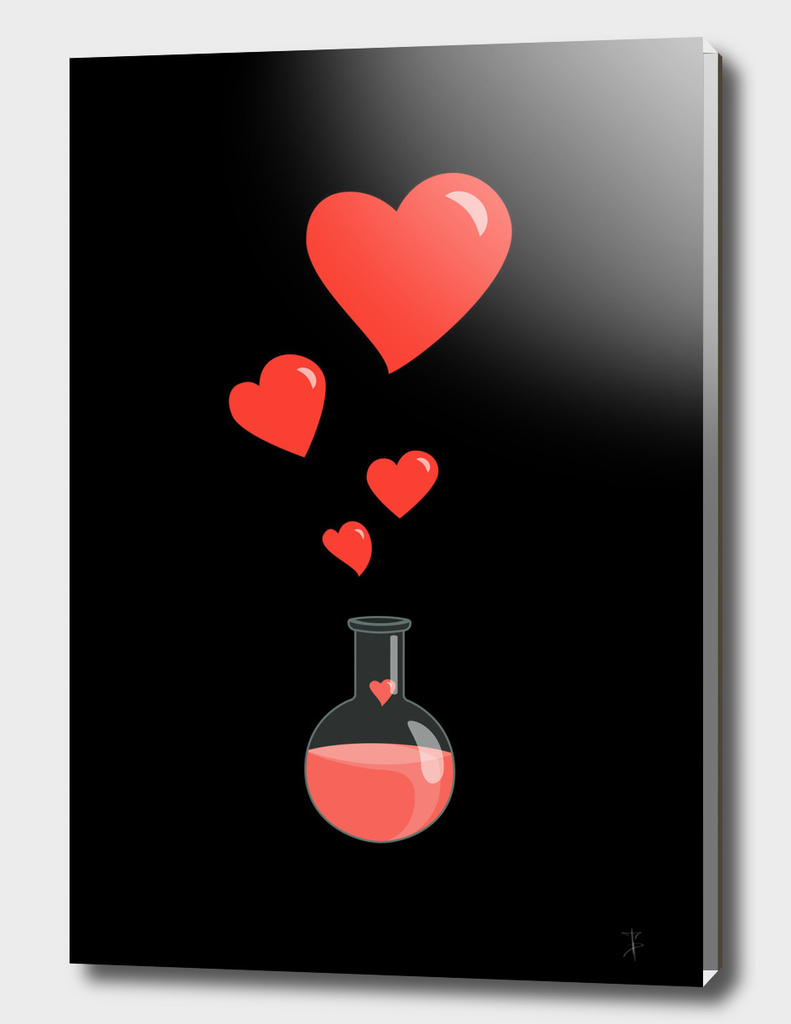 Love Potion Flask With Hearts