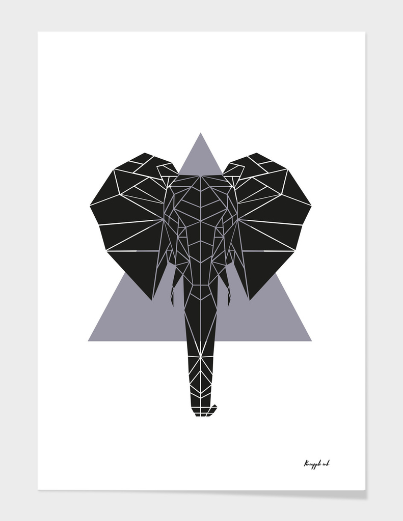 Geometric Elephant - Grey