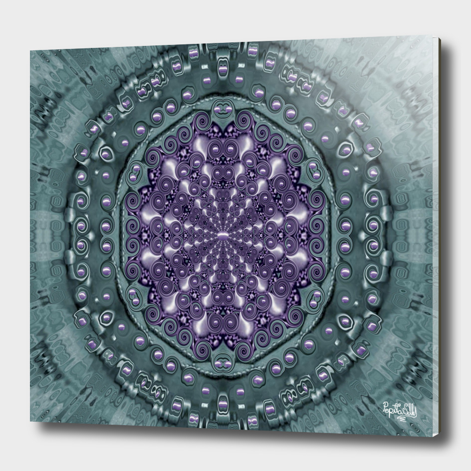 Star and flower mandala in wonderful colors