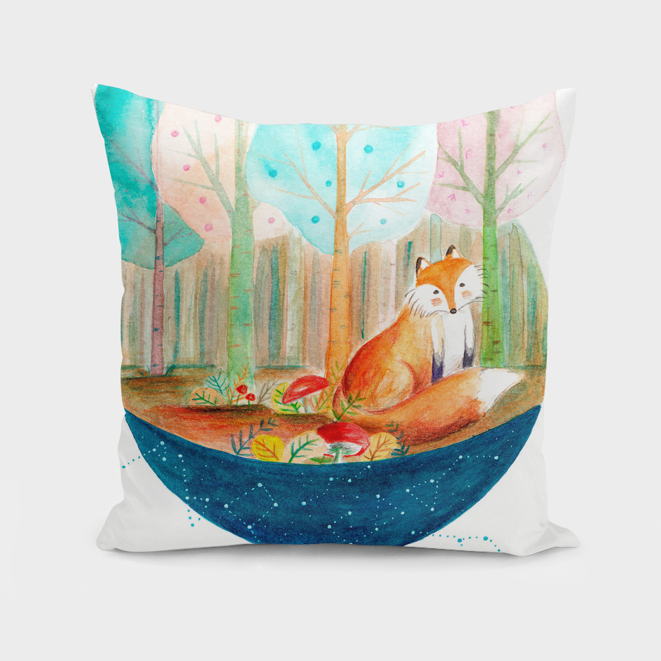 Brave fox in the forest