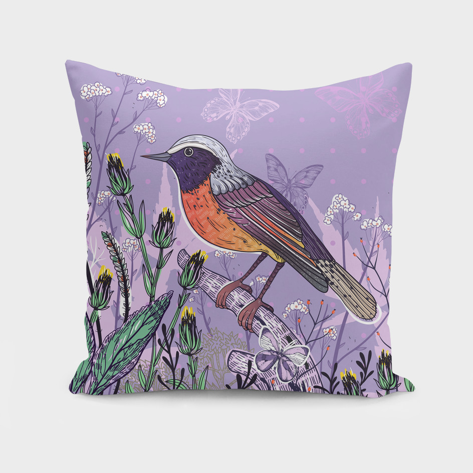 A bird on violet