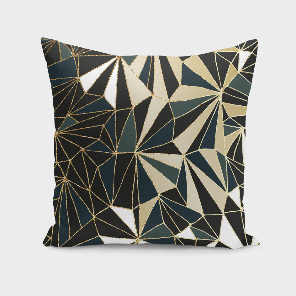 New Art Deco Geometry - Emerald Green & Gold