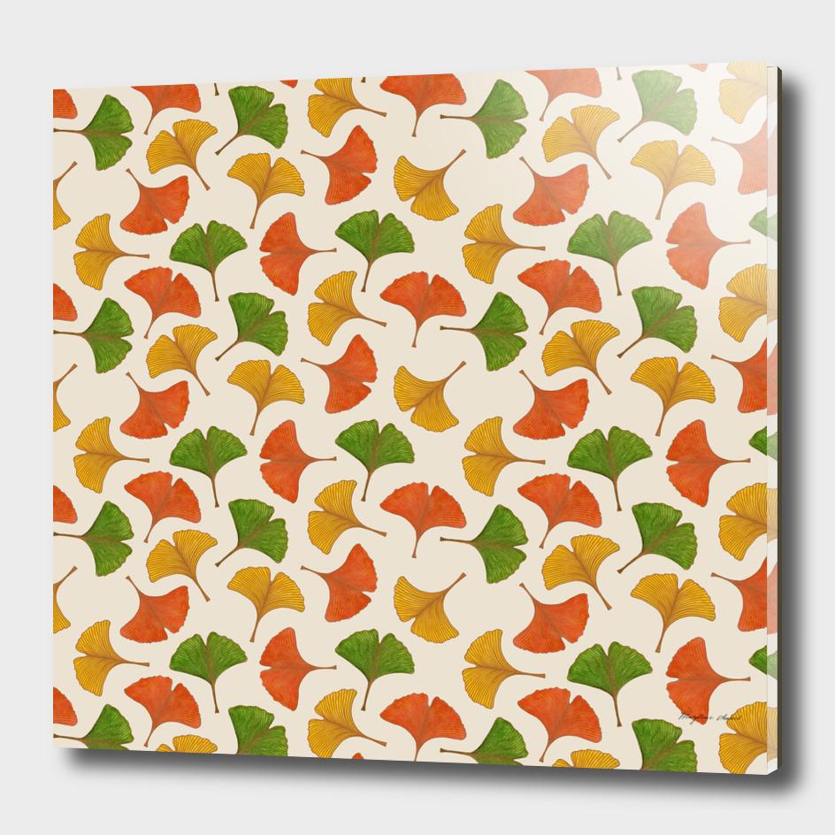 Fall ginkgo leaves pattern