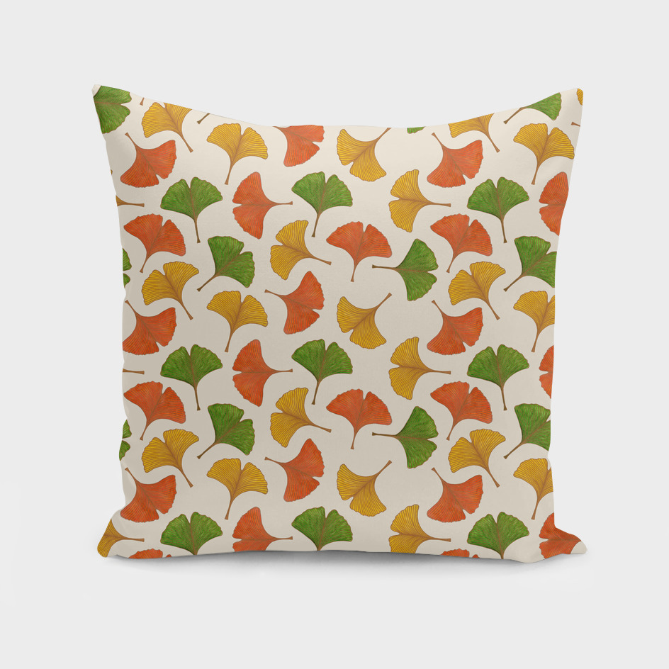 Fall ginkgo leaves pattern