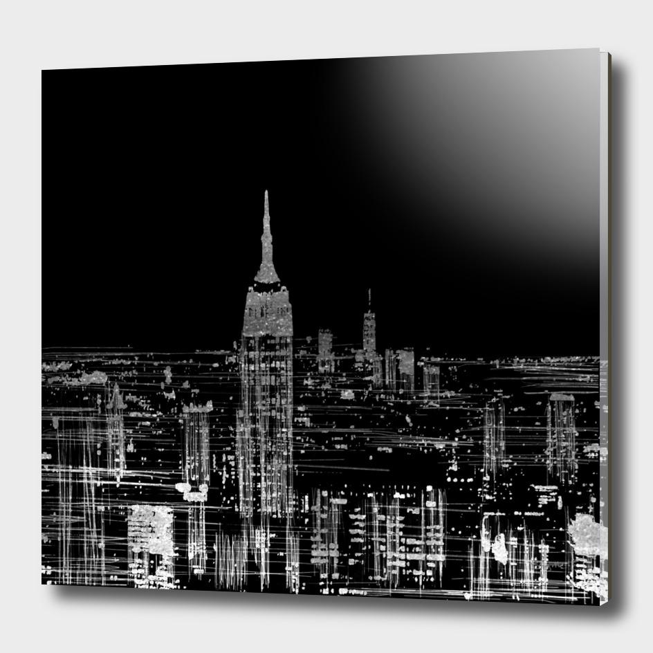 Contemporary Elegant Silver City Skyline Design
