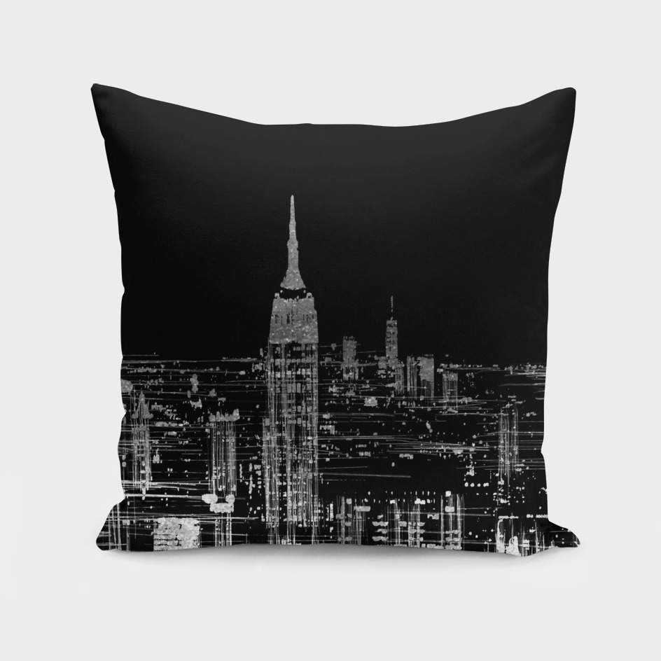 Contemporary Elegant Silver City Skyline Design