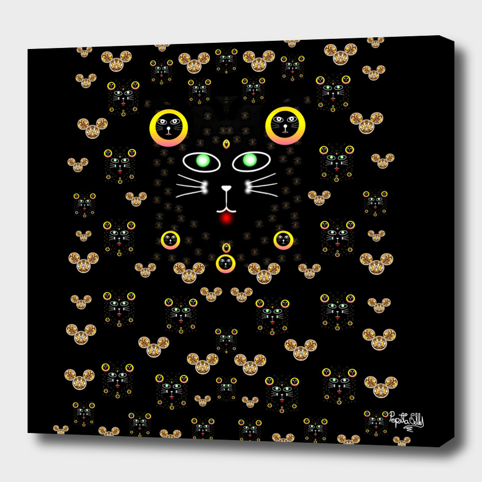 Merry black cat in the night and a mouse involved pop-art