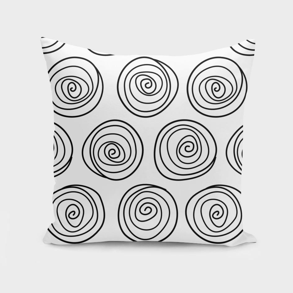 Hand Drawn Spirals Vector Pattern (white)