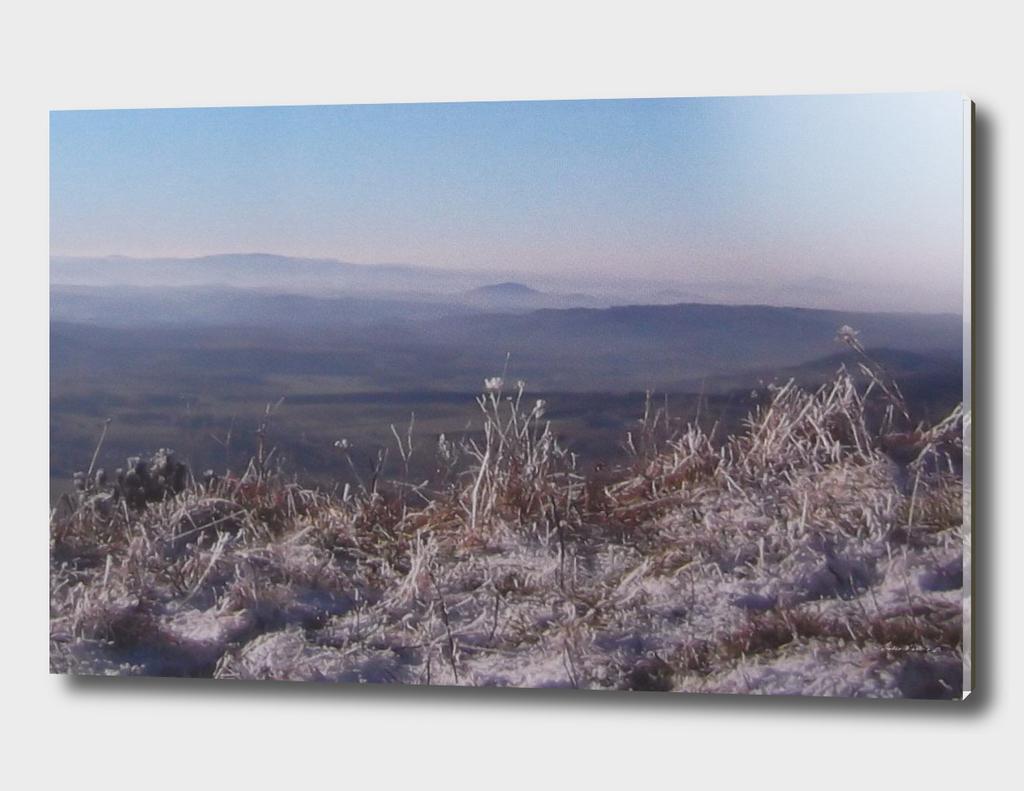 Caucasian snow-covered landscape
