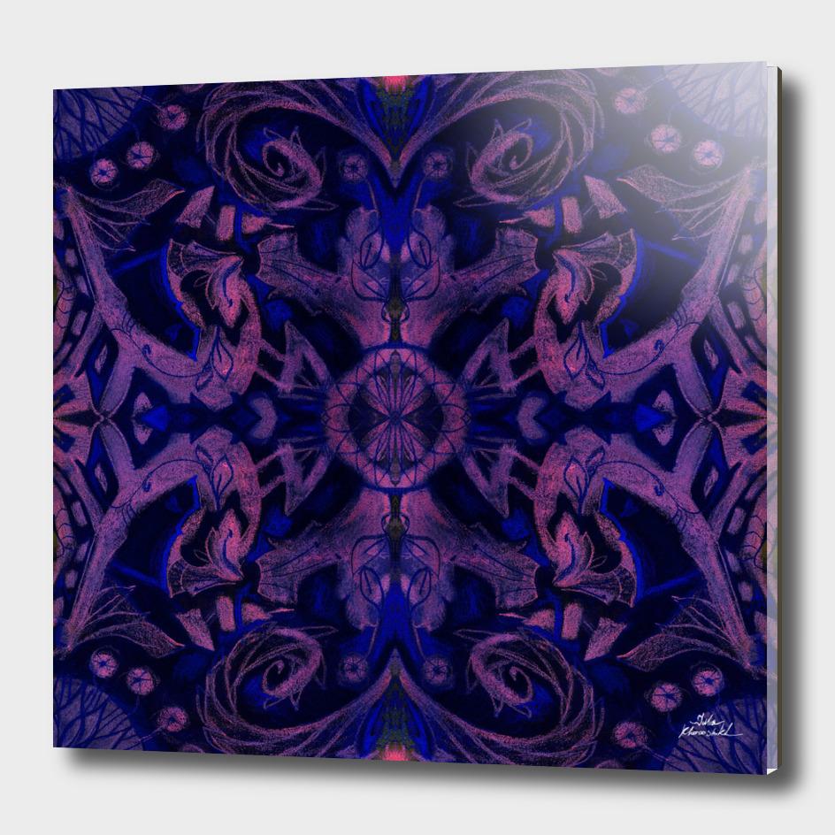 Curves & lotuses, abstract floral pattern, violet & black