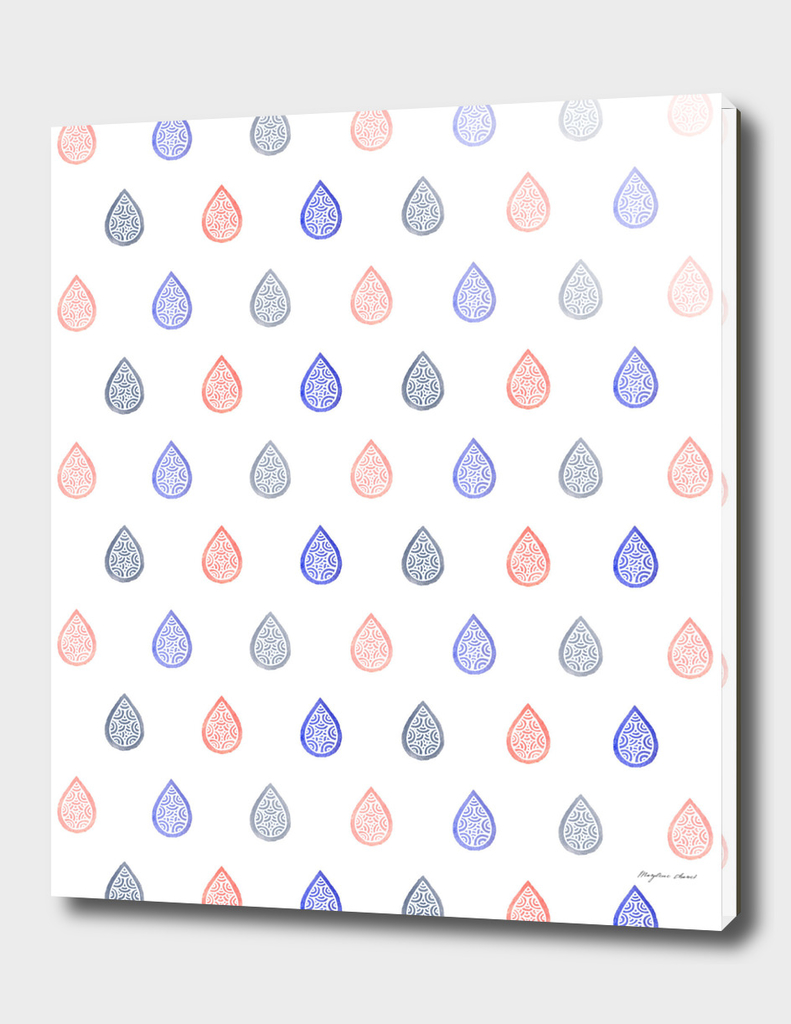 Coral pink, serenity blue & lilac grey droplets