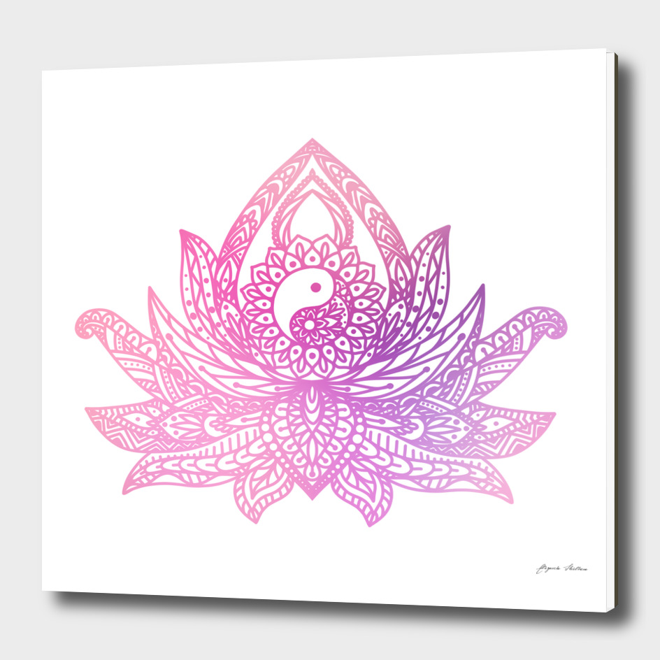Watercolor Yin Yang Lotus