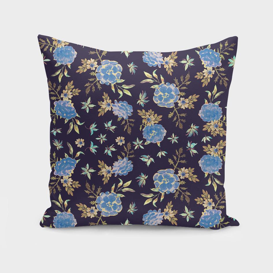 Blue Flowers. Dark Floral Pattern